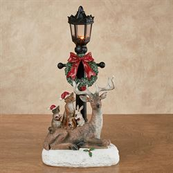 Forest Friends Lighted Lamppost Figurine Multi Warm