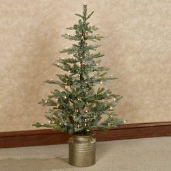 Prelit Iced Flat Back Christmas Tree Green 4 High