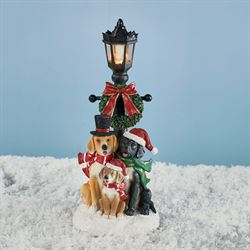 Caroling Dogs Lighted Lamppost Figurine Multi Cool