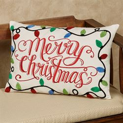Merry Christmas Lights Decorative Pillow Multi Bright Rectangle