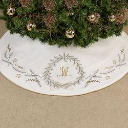 Golden Greenery Tree Skirt White