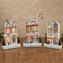 Lighted Musical Christmas Village Buildings Multi Cool Set of Three