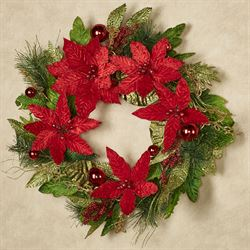Holiday Trimmed Poinsettia Wreath Red