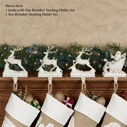 Lace Santa with One Reindeer Stocking Holders Ivory 2 Piece Set