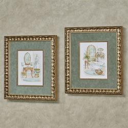 Watercolor Bath in Spa Framed Wall Art Multi Pastel Set of Two