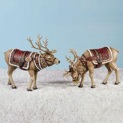 Majestic Deer Figures Red 2 Piece Set