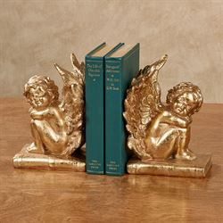 Winged Cherub Bookends Gold Pair