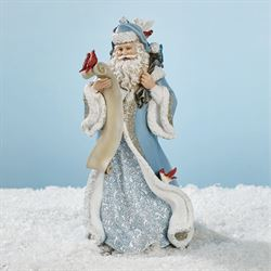 Santa with Feathered Friends Figurine Multi Cool