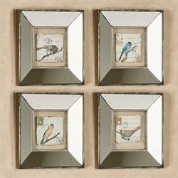 Sweet Bird Mirrored Wall Art Multi Earth Set of Four