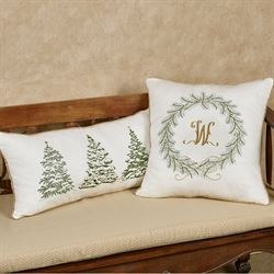 Golden Greenery Wreath Decorative Pillow White Square