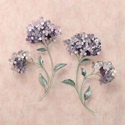Lavender Hydrangea Wall Sculpture Set