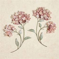 Peach Hydrangea Wall Sculpture Set Set of Two