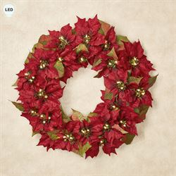 Prelit Poinsettia Wreath Red