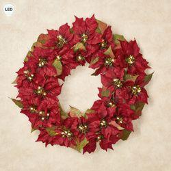 Prelit Poinsettia Wreath Red