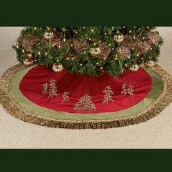 Tassel Border Tree Skirt Burgundy