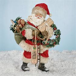 Vintage Fabriche Santa Figurine Red