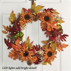 Prelit Fall Foliage Wreath Multi Warm
