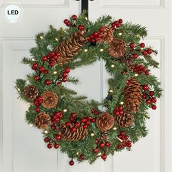 Prelit Berry Pine Cone Wreath Green