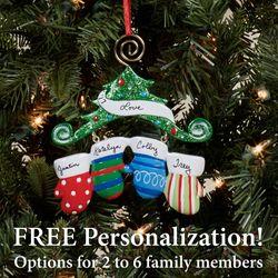 Two Mitten Family Ornament Multi Warm