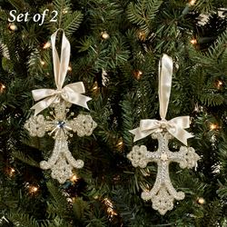 Vintage Cross Ornaments Platinum 2 Piece Set