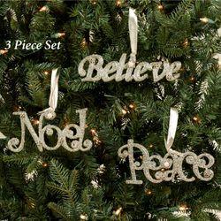 Vintage Believe Noel Peace Ornaments Platinum Three Piece Set