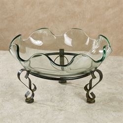Clarissa Glass Bowl with Stand Antique Black