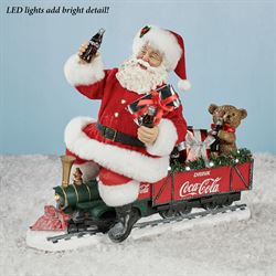 Coke Santa on Train Figurine Red