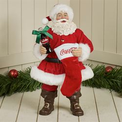 Coke Santa with Coke and Stocking Figurine Red