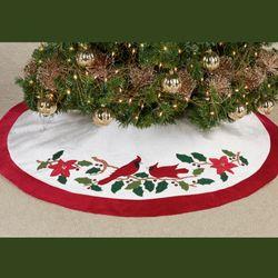 Cardinal Tree Skirt White/Red 48 Diameter