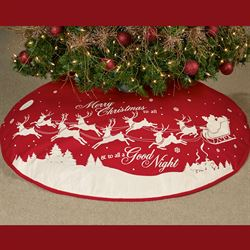 To All a Good Night Tree Skirt Red 48 Diameter