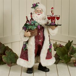 Making Spirits Bright Fabriche Santa Figurine Burgundy