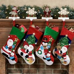 Holiday Cheer Stockings Red Four Piece Set