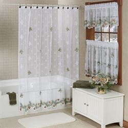 Rustic Pines Lace Shower Curtain White 70 x 72