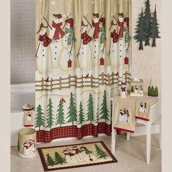 Snowmen Gathering Shower Curtain Tan 72 x 72