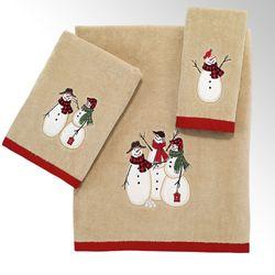 Snowmen Gathering Bath Towel Set Tan Bath Hand Fingertip