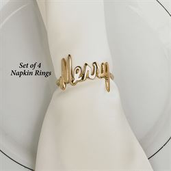 Merry Napkin Rings Gold Set of Four