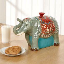 Spice Route Elephant Cookie Jar Multi Jewel