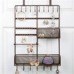 Over the Door Jewelry Organizer Bronze
