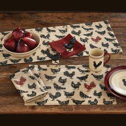 Hen Pecked Table Runner Black 13 x 36