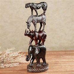 African Pride Totem Table Sculpture Black