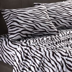 Cozy Spun Zebra Print Sheet Set Zebra