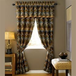 Dakodah Tailored Curtain Pair Multi Warm 82 x 84