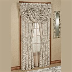 Astoria Scroll Tailored Curtain Pair Sand 98 x 84