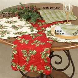 Holly Berry Quilted Table Topper