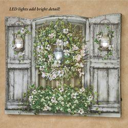 Garden Wreath Window LED Canvas Wall Art Multi Cool