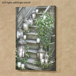 Garden Stairway LED Canvas Wall Art Multi Cool