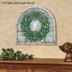 Boxwood Wreath LED Canvas Wall Art Multi Cool