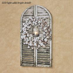 Cotton Wreath Shutter LED Canvas Wall Art Multi Cool