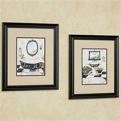 Bath Framed Wall Art Cream Set of Two