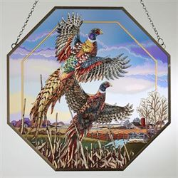 Flying Pheasants Window Art Panel Multi Warm